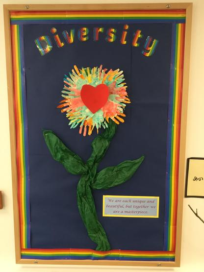 Tiger Cubs used their own colourful handprints for their diversity flower art work.