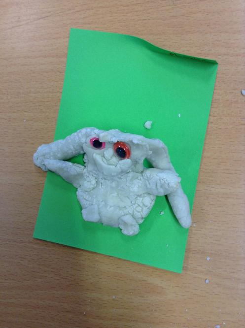 We used salt dough to make aliens.