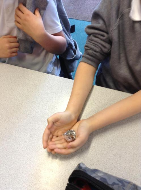 We did an experiment using milk and white chocolate to investigate different rock types