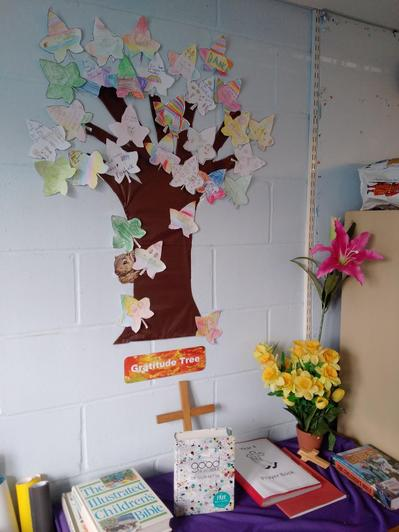 In class, we created a Gratitude Tree with all the things we are grateful for.