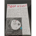 Imogen research and wrote a newspaper report about the first man on the moon