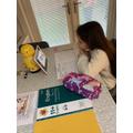 Emily studying hard