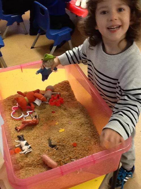 Sensory play with spicy rice - The Gingerbread Man