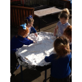 Writing in shaving foam is fun