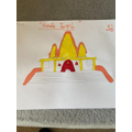 Evie's temple.