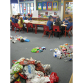 We sorted the plastic into different categories