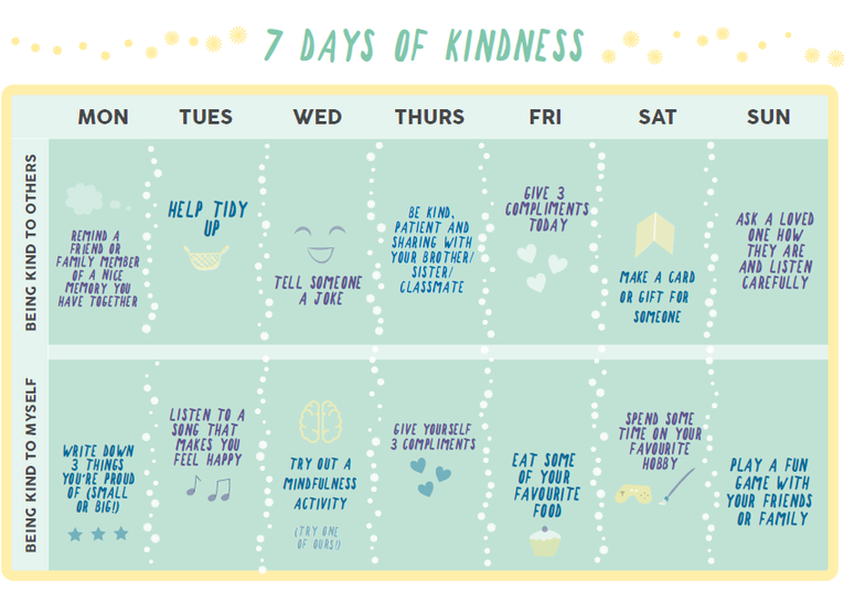 Example calendar for 7 days of kindness