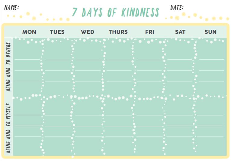 Blank 7 days of kindness calendar