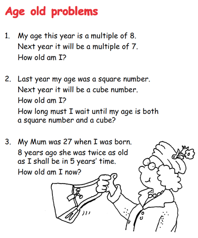 Age Old Problems - Number/Algebra
