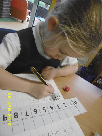 Writing our own number sentences.