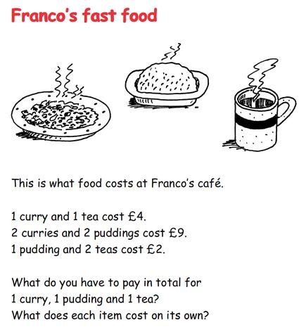 Pranco's Fast Food - Algebra