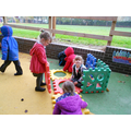 Lots of building in our outdoor area.