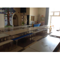 We eat our tasty lunch in the school hall.