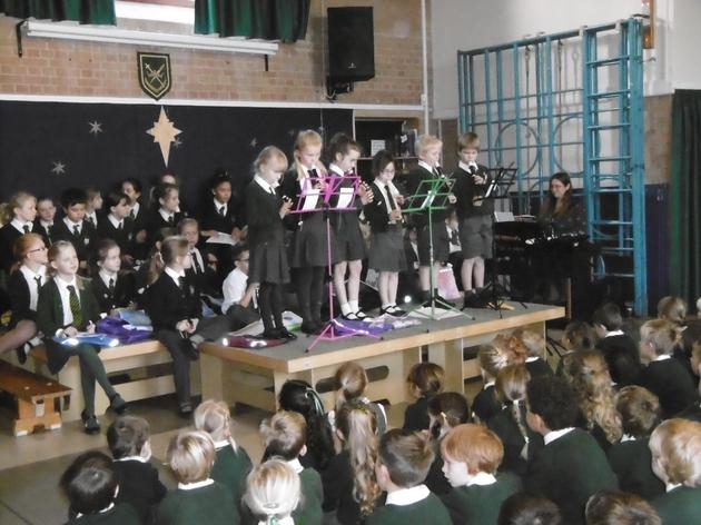 We listened to the recorder groups in assembly.