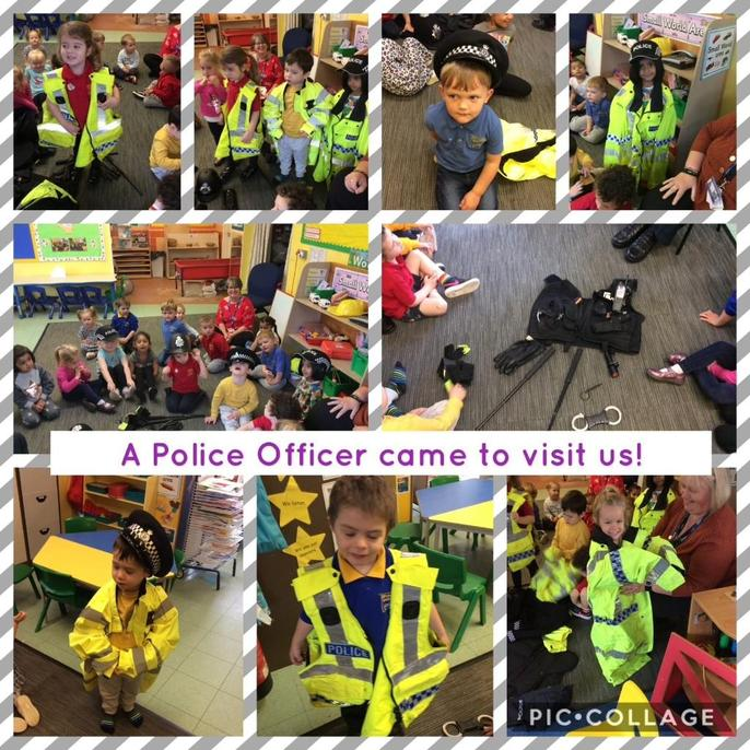 On Wednesday we had a special visitor who came into nursery to talk to us about our topic 'People who help us'. The police officer told us all about his special job and the important jobs that he has to do. He showed us all of the special equipment that police officers need to do their jobs and the uniform that police officers wear. We learned that police officers are here to help us if we lose something, or if we are lost and they can help us with the traffic and cars. Well done everybody!