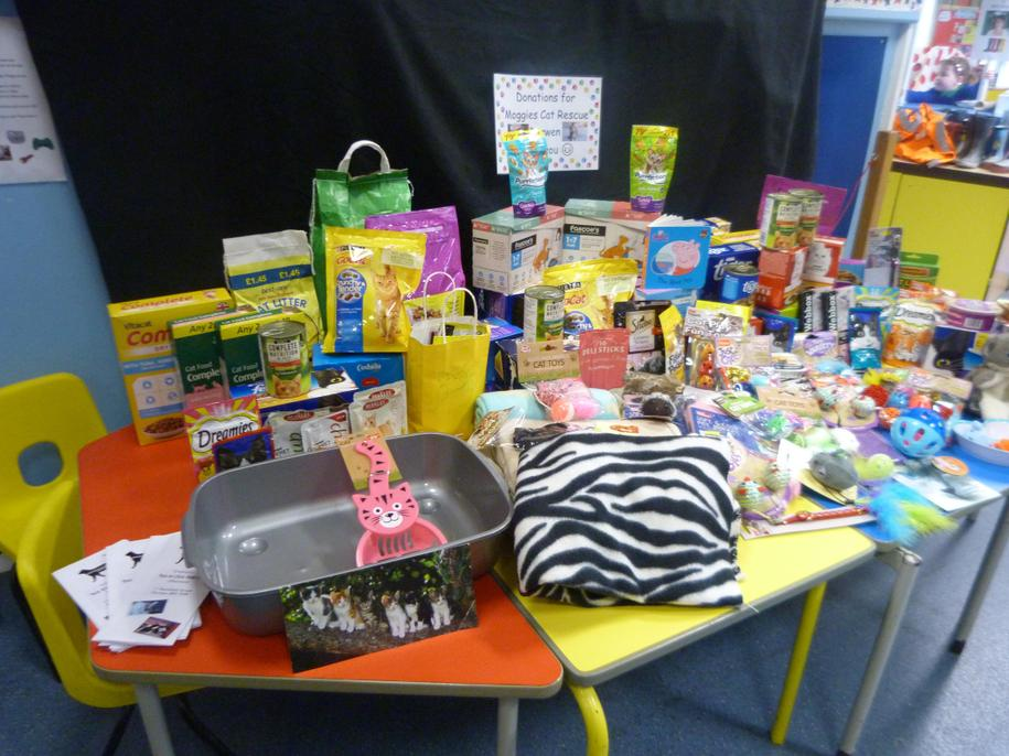 Family donations for the children's 1km walk. Wow!