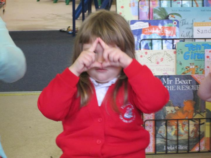 Using our fingers to make a triangle