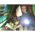 Reading books in our dark story den