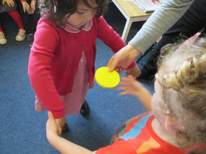 Working with a partner to make a circle