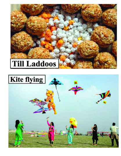People love to fly colourful kites -eat Til laddus