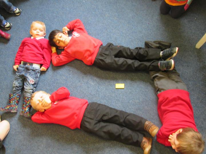 We needed four children to make a rectangle