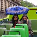 Smiling in the rain on the tour bus in Edinburgh!