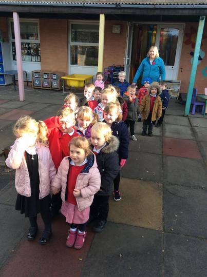 Mrs Wright's class went for a walk
