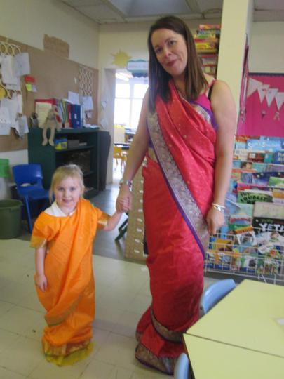Wearing the tradition Indian Sari