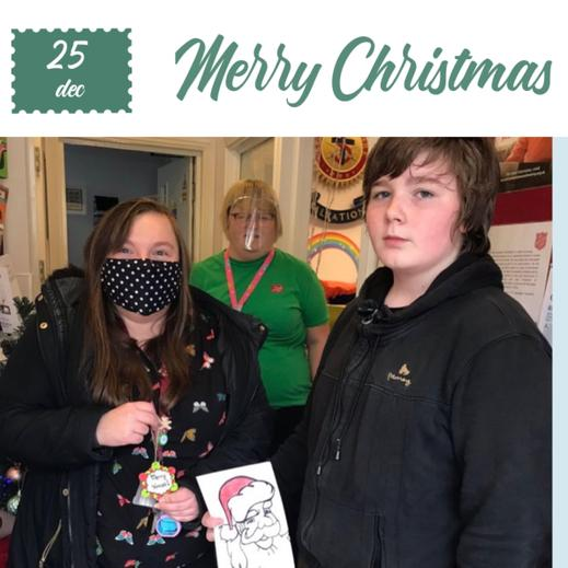 M designed and presented a Christmas card (with Ms Jones).