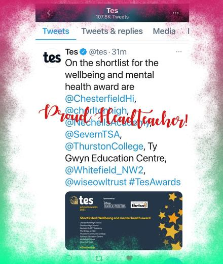 One of only 2 schools in Wales shortlisted for the prestigious TES Awards 🏆
