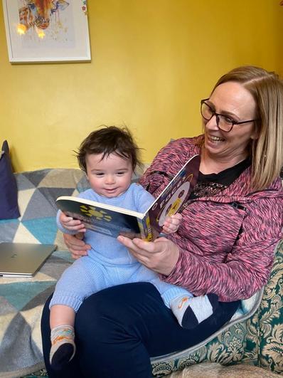 Nanny Bev enjoying cwtches and stories!