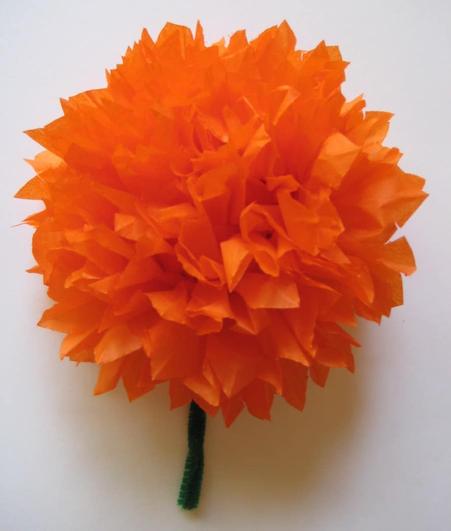 Orange crepe paper flowers