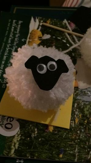 White pompom - funky foam face and googly eyes!