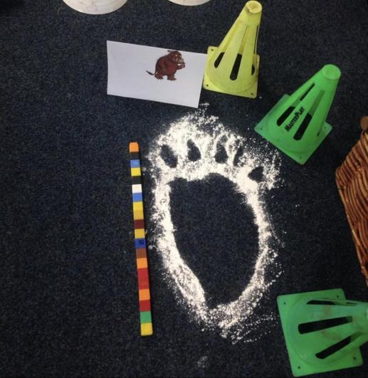 Make and measure Gruffalo footprints!