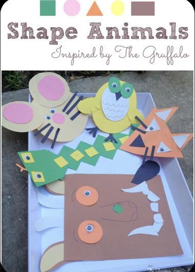 Make Gruffalo animals from shapes!