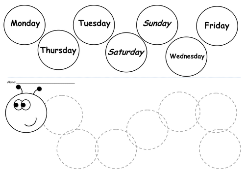 Sequence the days of the week