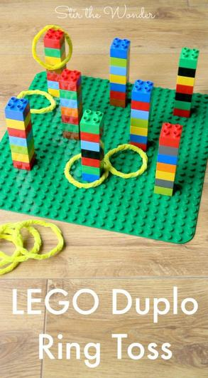 Buld a tower of LEGO, play hoopla