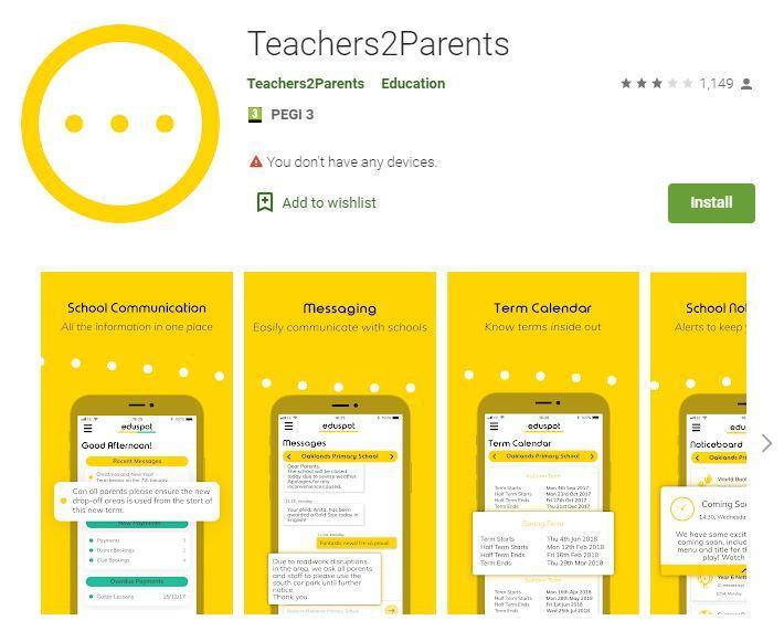 School Money can also be found in the Teachers2Parents app