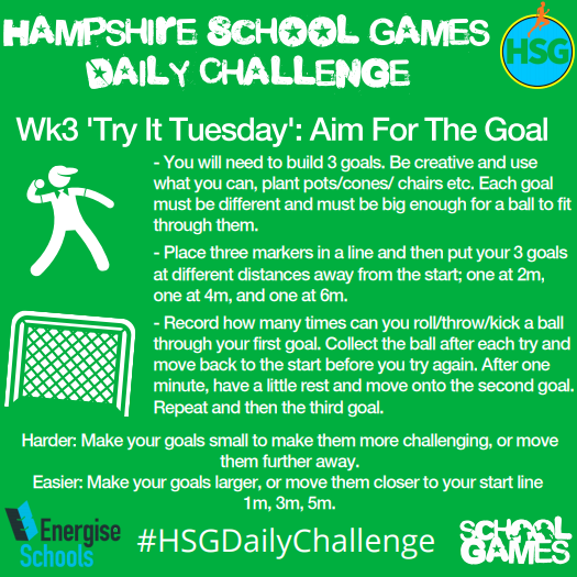 Hampshire School Games Daily Challenge: Tuesday