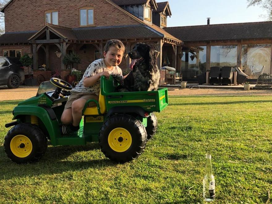 Happiness is wheels and a dog!