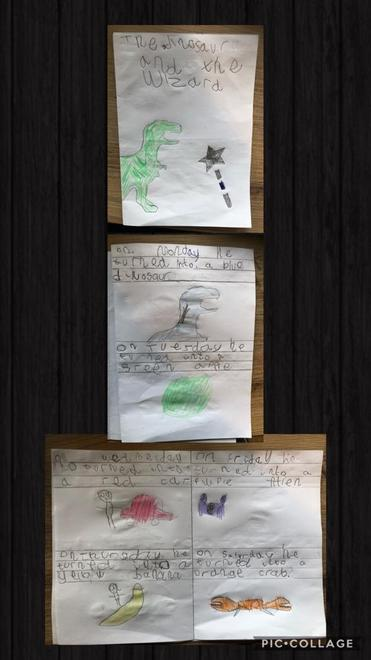 Zain's Dinosaur and the Wizard story writing