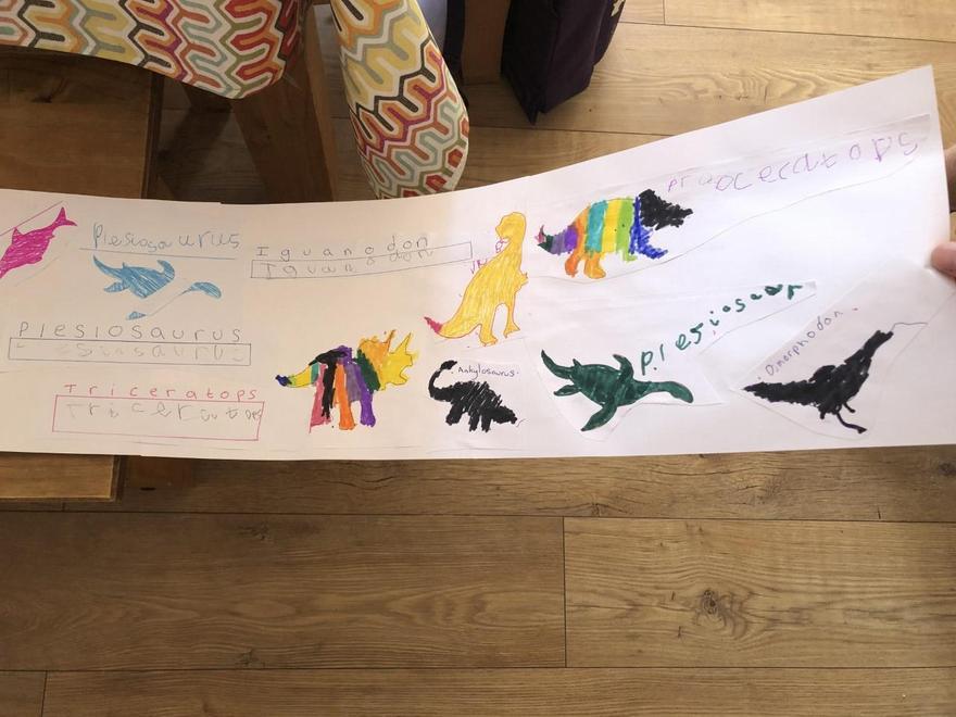 Lots of careful dinosaur writing