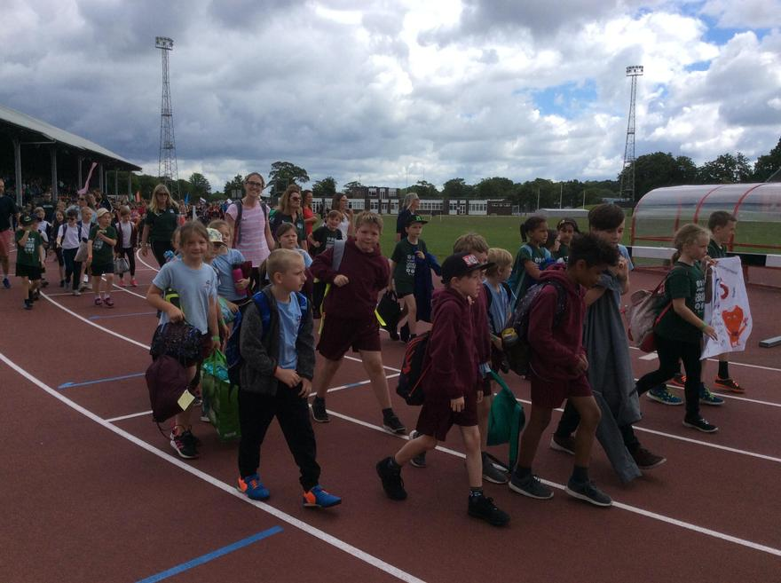 Upham at the Hamsphire Games - just starting a parade lap of the track,