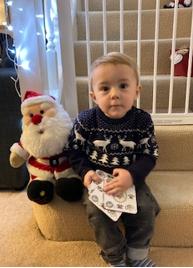 Jacob keeping Santa company