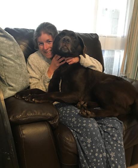 Dog cuddles