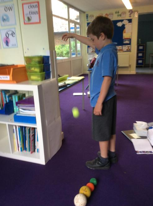Rufus carrying out the Science test in Class 3