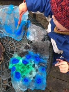painting ice with beautiful watery colours