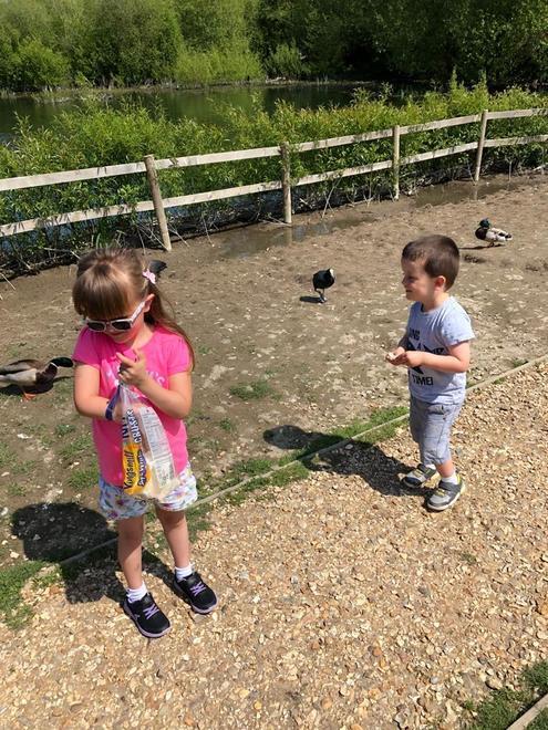 Having fun feeding the ducks