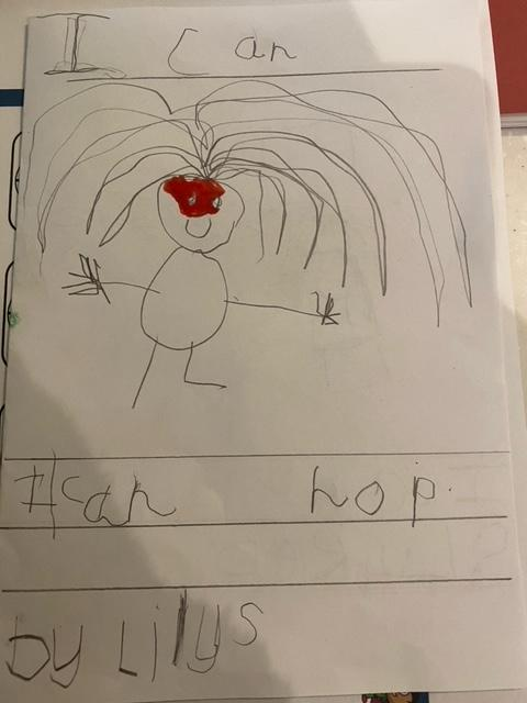 Lily's 'I Can' book is coming along well