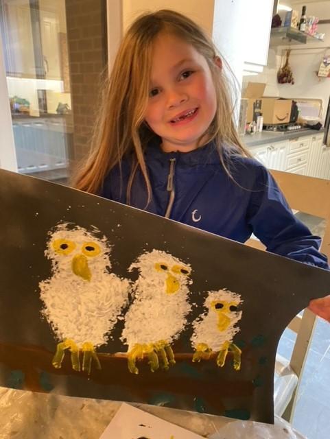 The finished owl painting - wonderful!